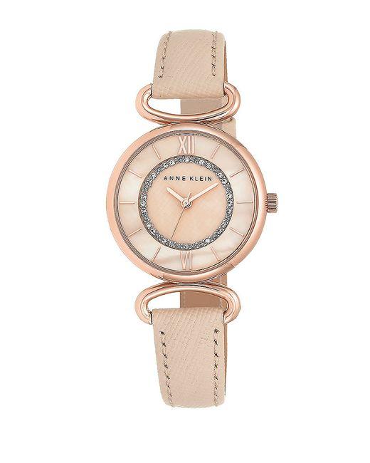 Anne klein sparkling leather strap watch in pink blush lyst for Anne klein leather strap