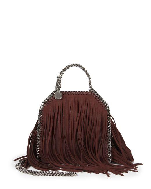 Stella McCartney | Purple Tiny Bella Fringe Fold-over Bucket Bag | Lyst