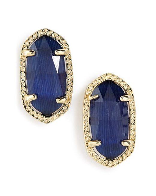 Kendra Scott | Blue 'ellie' Oval Stone Stud Earrings - Navy/ Gold | Lyst