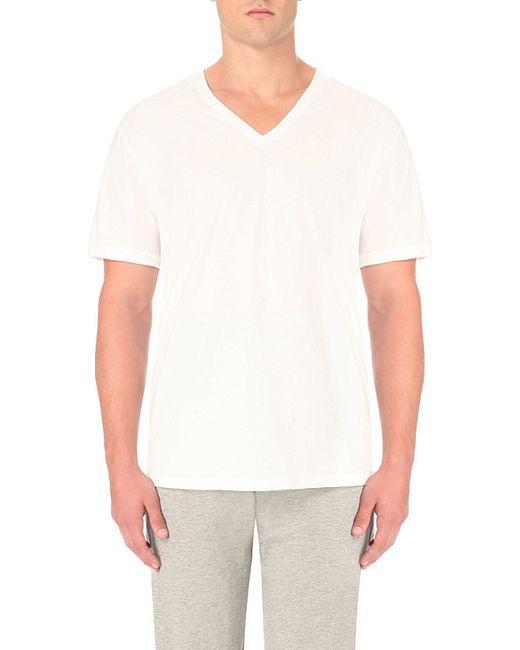 Calvin Klein | White V-neck Cotton-jersey T-shirt for Men | Lyst