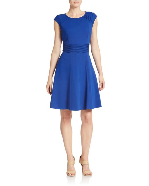 Eliza J | Blue Cap Sleeve Fit And Flare Dress | Lyst