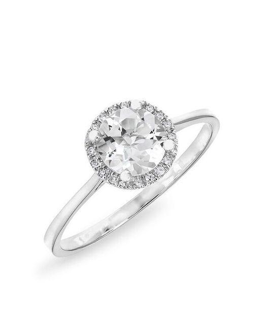 Anne Sisteron - Metallic 14kt White Gold White Topaz Solitaire Diamond Halo Ring - Lyst