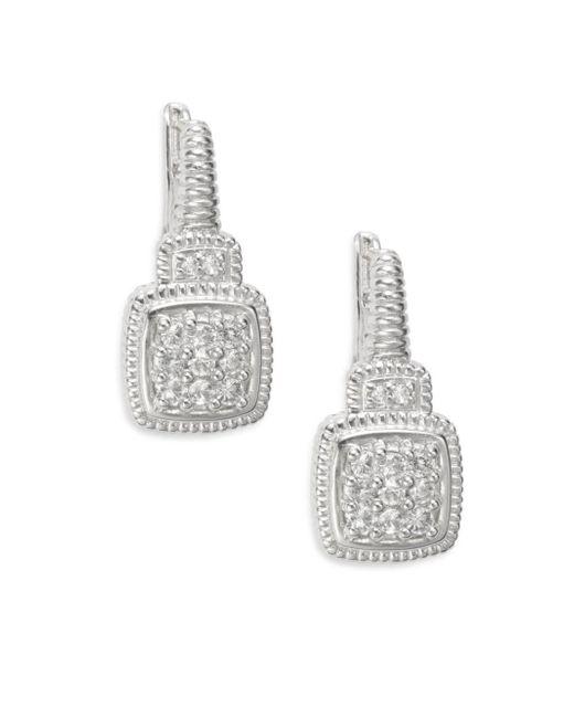 Judith Ripka | Metallic Natalie White Sapphire & Sterling Silver Cushion Drop Earrings | Lyst