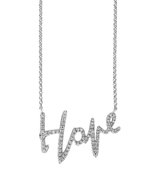 Effy | Novelty Diamond And 14k White Gold Love Pendant Necklace | Lyst