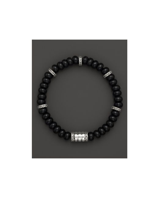 John Hardy | Men's Sterling Silver Bedeg Beaded Bracelet With Frosted Black Chalcedony for Men | Lyst