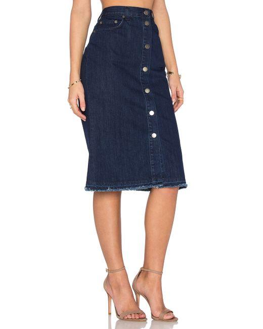 nicholas denim button up skirt in blue save 52 lyst