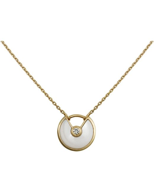 Cartier | Metallic Amulette De 18ct Yellow-gold, Mother-of-pearl And Diamond Necklace | Lyst