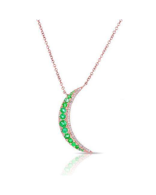 Anne Sisteron - Metallic 14kt Rose Gold Emerald Moon Diamond Necklace - Lyst