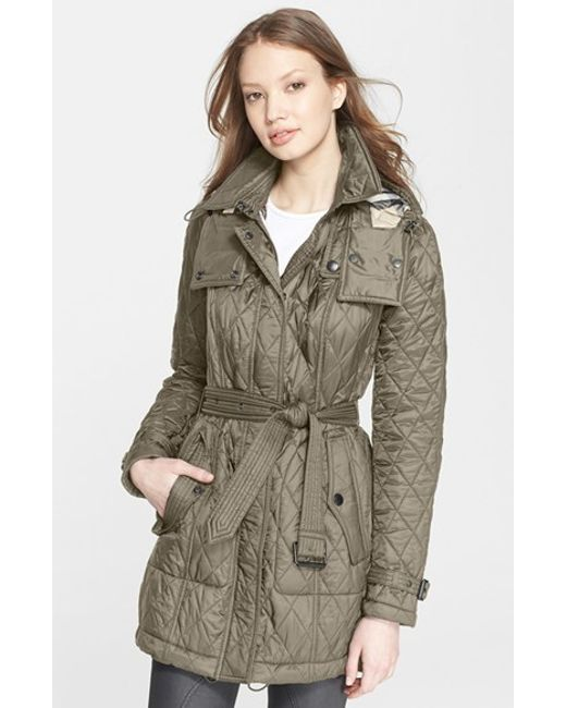 Burberry Brit Finsbridge Belted Quilted Jacket In Gray