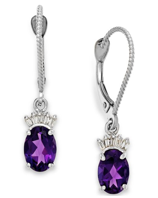 Macy's | Metallic Amethyst (1-5/8 Ct. T.w.) And Diamond Accent Earrings In 14k White Gold | Lyst