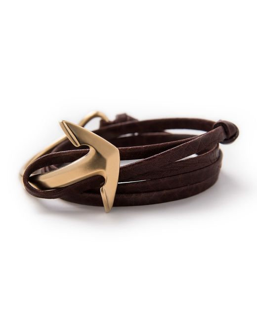 Miansai | Brown Gold-plated Anchor Leather Bracelet | Lyst
