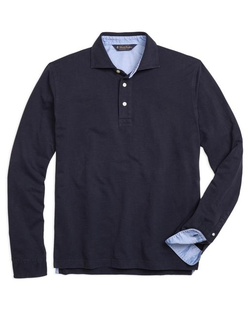 Brooks Brothers Long Sleeve Cotton Linen Polo Shirt In
