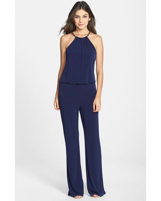Laundry by Shelli Segal | Blue Chain Detail Jersey Jumpsuit | Lyst