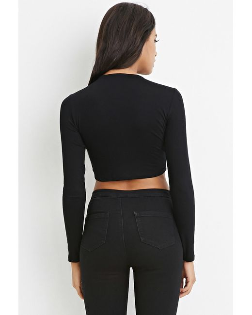 Forever 21 | Black Cutout Crop Top | Lyst
