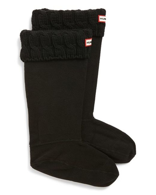 Hunter | Black Original Tall Cable Knit Cuff Welly Boot Socks | Lyst