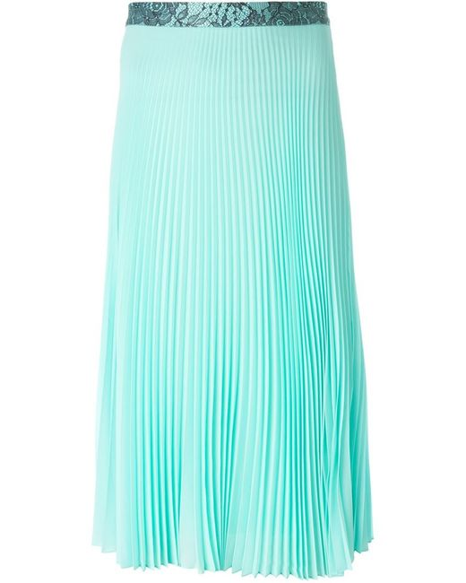 christopher pleated midi skirt in teal blue save
