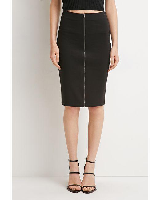 Forever 21 | Black Zipped Pencil Skirt | Lyst