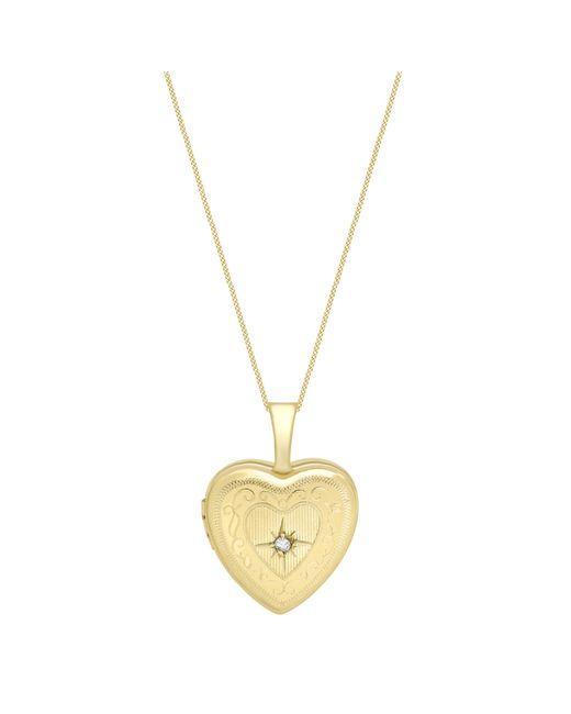 Ib&b   Metallic 9ct Gold Heart Locket Pendant Necklace   Lyst