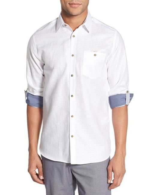 Ted baker 39 linoo 39 modern slim fit linen blend sport shirt for Slim fit white linen shirt