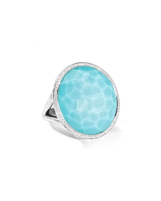 Ippolita | Metallic Stella Large Lollipop Ring In Turquoise Doublet With Diamonds | Lyst