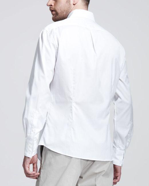 Brunello cucinelli button down slim spread collar shirt in for White button down collar shirt
