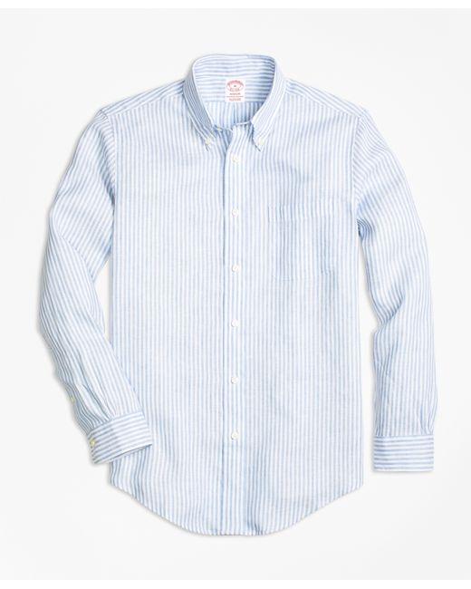 Brooks brothers milano fit stripe irish linen sport shirt for Irish linen dress shirts