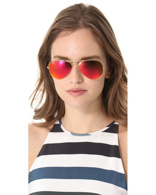 ladies ray ban aviators 8bar  mirrored ladies ray bans
