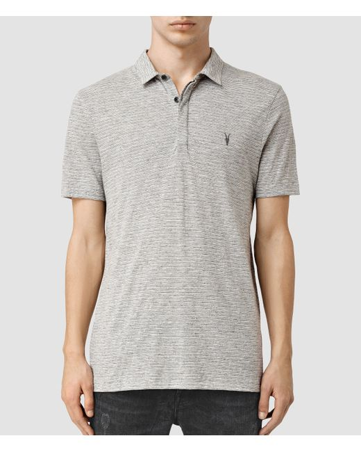 Allsaints acer polo shirt usa usa in gray for men for All saints polo shirt
