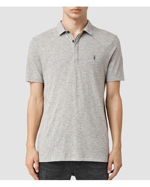 Allsaints Acer Polo Shirt Usa Usa In Gray For Men