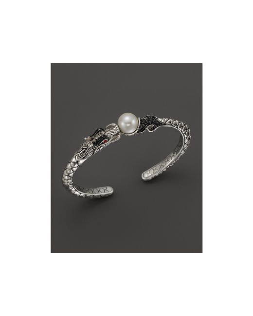 John Hardy | Metallic Naga Sterling Silver Lava Small Cuff With Cultured Freshwater Pearl, Black Sapphire And African Ruby Eyes | Lyst
