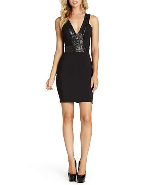Dress the Population | Metallic 'rylee' Sequin Strap Crepe Body-con Dress | Lyst