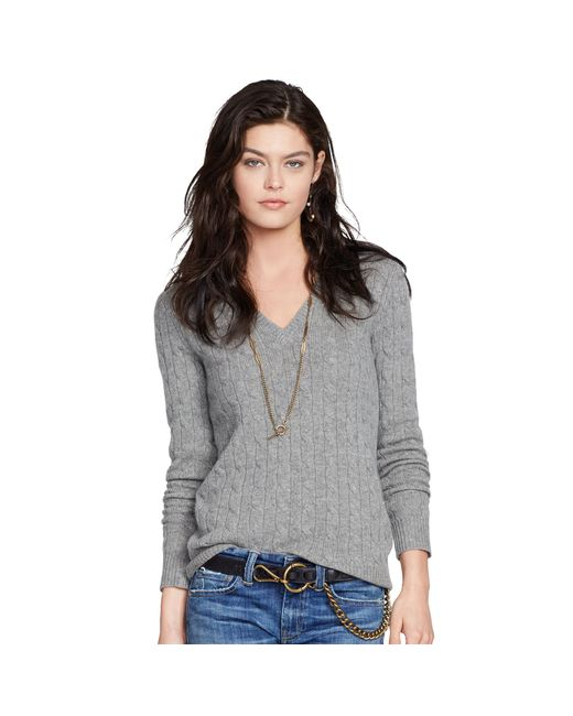 Polo Ralph Lauren | Gray Cable Cashmere V-neck Sweater | Lyst