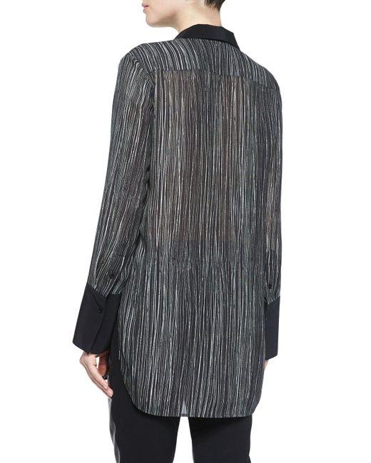 Vince   Black Wavy Striped Silk Blouse   Lyst