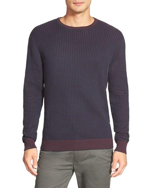 Vince Camuto | Blue Cotton Crewneck Sweater for Men | Lyst
