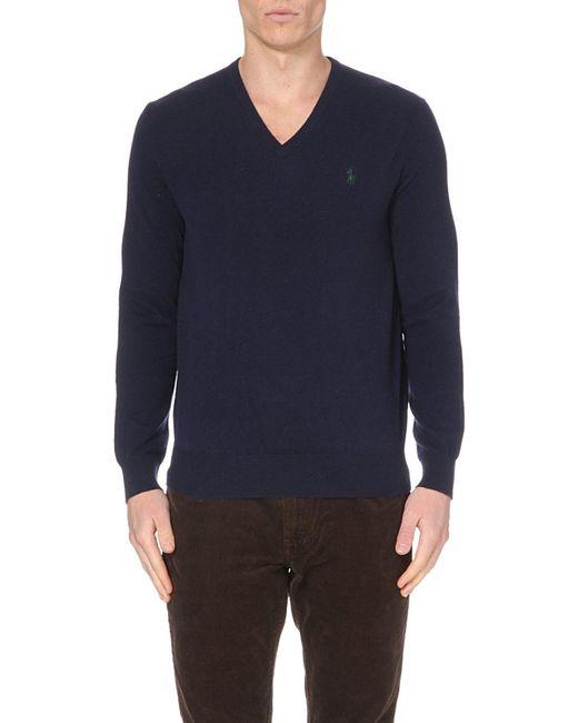 Polo Ralph Lauren | Blue V-neck Wool Jumper for Men | Lyst