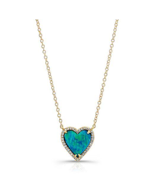 Anne Sisteron | Metallic 14kt Yellow Gold Opal Heart Diamond Necklace | Lyst