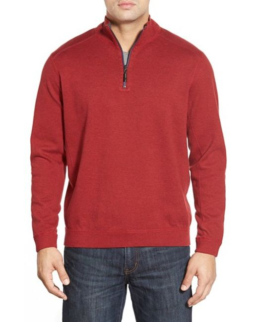 Tommy Bahama | Red Flip Side Reversible Quarter Zip Twill Pullover for Men | Lyst