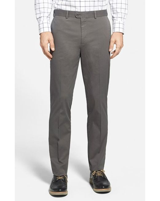 Bensol   Gray Washed Trim Fit Stretch Cotton Trousers for Men   Lyst