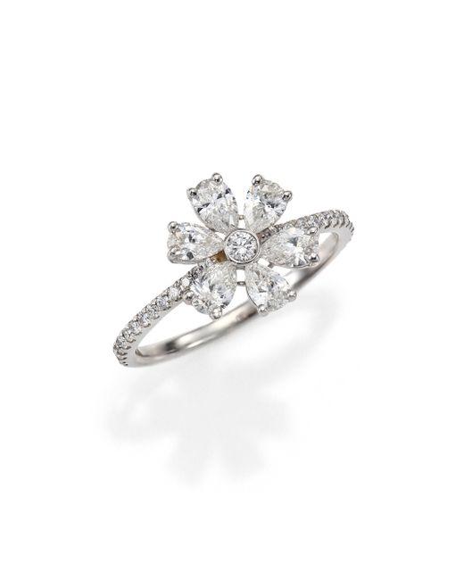 Kwiat | Elements Diamond & 18k White Gold Flower Ring | Lyst
