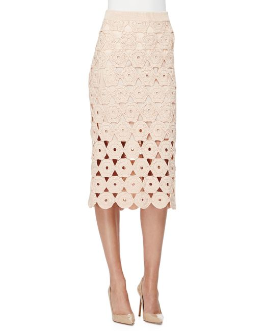 Lela Rose | Pink Crochet Midi Pencil Skirt | Lyst