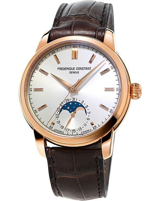 Frederique Constant   White Fc715v4h4 Moonphase Rose Gold-plated And Leather Watch for Men   Lyst