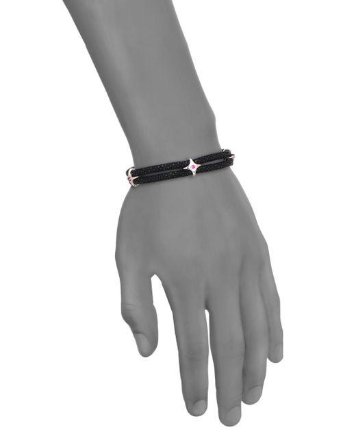 Stinghd | Diamond, Blackened Silver & Stingray Star Wrap Bracelet for Men | Lyst