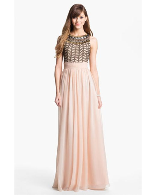 JS Collections | Pink Embellished Chiffon Gown | Lyst