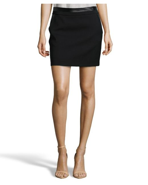 vince black stretch wool and leather trimmed mini skirt in