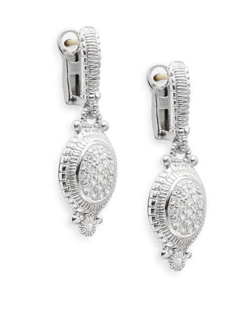 Judith Ripka | Metallic Natalie White Sapphire & Sterling Silver Pavé Oval Drop Earrings | Lyst