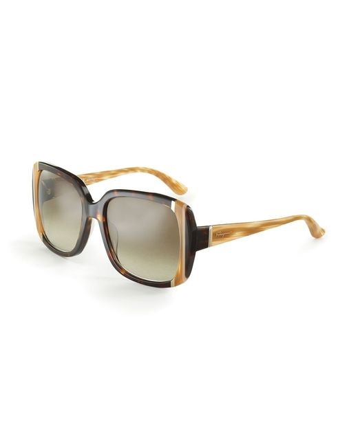 Ferragamo | Brown Tortoise Shell Sunglasses | Lyst