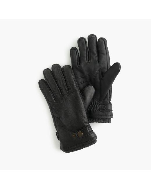 J.Crew | Black Hestra Leather Primaloft Ribbed Gloves for Men | Lyst