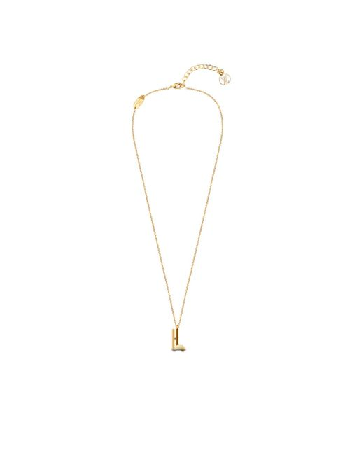 Louis vuitton lv me necklace letter l in gold lyst for Gold necklace with letter l