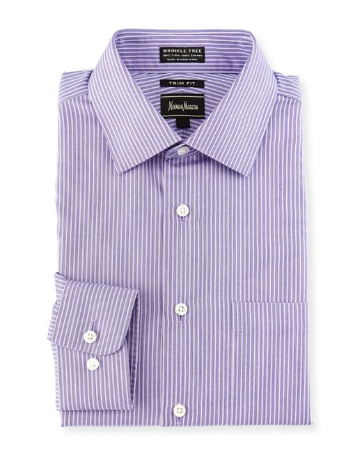 Neiman marcus trim fit non iron striped dress shirt in for White non iron dress shirts