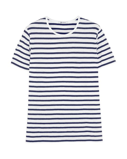 T By Alexander Wang | Black Striped Linen And Cotton-Blend T-Shirt | Lyst